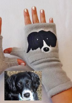 #Spaniel Personalized Fingerless Gloves with Pockets by BZFingers