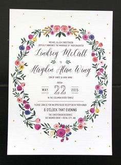 This looks very familiar..... :D Custom Floral Wreath Wedding Invitation by McKenzieSueMakes