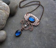 Big Blue Glass Pendant Copper Pearl Pendant Boho Rustic Necklace Copper Glass Jewelry Earthy Boho Rustic Jewelry Bohemian Metalwork Necklace by MaryBulanova on Etsy