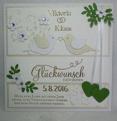 """Karins Kreativstube: Hochzeit """"Viktoria & Klaus"""" beige/grün Blog, Bullet Journal, Love, Cards, Creative, Wedding, Blogging"""