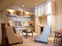 so many great things about a bunk room - add a curtain to each of the bunks for a little privacy and light control.