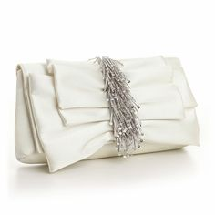 Soft Pleat Ivory Wedding Purse Evening Bag with Cascading Beads - perfect for the bride! affordableelegancebridal.com