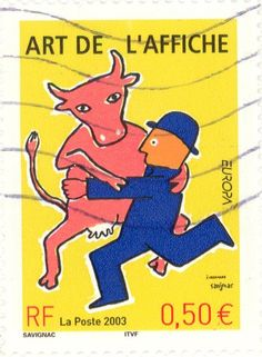 Yellow stamp - R_20.10.2013 - (2003 France - Man and bull dancing as couple