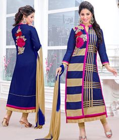 Buy Hina Khan Blue Cambric Cotton Churidar Suit 70267 online at lowest price from huge collection of salwar kameez at Indianclothstore.com.