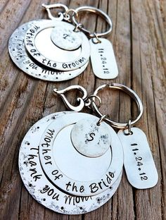 Wedding Party GIFTS Personalized Key Chain MOTHER by DreamNColor, $40.00