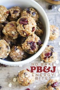 These No Bake Peanut Butter and Jelly Energy Bites are simply delicious! via @somewhatsimple