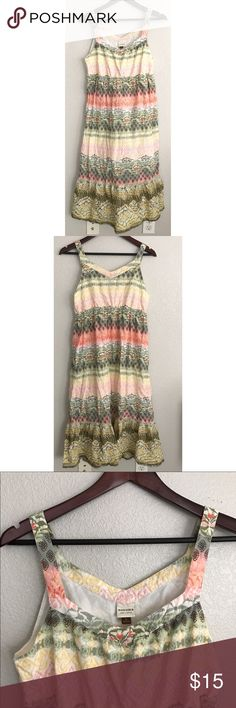 """Pastel Printed Midi Cotton Sundress Pastel Printed Midi Sundress in sage green, yellow, pink, orange, and white by Sonoma. Small tear in the seam on the back side of the strap (left shoulder) as shown. Thin cotton lining. 42"""" long. Sonoma Dresses Midi"""