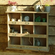 Square Rustic Wooden Pigeon Hole Unit garage