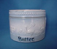 Rare Blue and White Stoneware Peacock Butter Crock with Lid