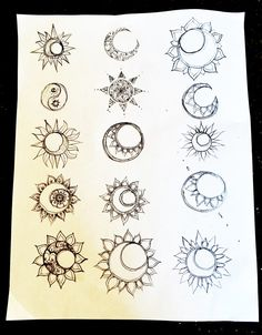 Sun and Moon designs | tattoo brainstorming