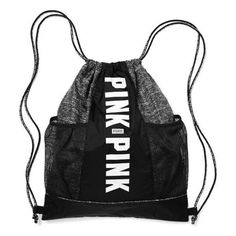 Victoria's Secret PINK Mesh Pocket Drawstring Gym Backpack ❤ liked on Polyvore featuring bags, backpacks, victoria secret pink bag, backpack bags, drawstring knapsack, grey bag and drawstring backpack