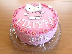 Inspiration til lyserød fondantkage med Hello Kitty motiv, du kan bruge den til børnefødselsdag til en lille pige