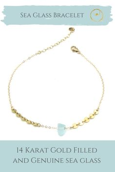 Dainty gold sea glass bracelet made with authentic sea glass from Panama. Bracelet Making, Jewelry Making, Dainty Gold Jewelry, Sea Glass Jewelry, 14 Karat Gold, Jewelry Shop, Panama, Fashion Accessories, Women Jewelry
