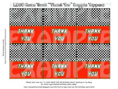 """PDF: 3"""" Wide LEGO """"Thank You"""" Party Favor Goody Bag Toppers - In Race Car theme style, with checkered flag, and LEGO font."""