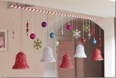 Christmas Bells and Balls Hanging Decoration (love the idea of decorating a dowel for easy installation)