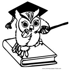 Teaching Owl color page, animal coloring pages, color plate, coloring sheet,printable coloring picture