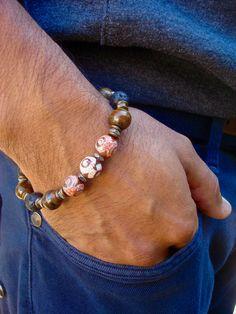 Men's Spiritual, Protection, Love and Fortune Bracelet with Semi Precious Terracotta Tibetan Eye Agates, Tiger's Eye, Hematites, Lava, W by tocijewelry on Etsy