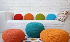 Round Pillow Crochet - orange. €21.00, via Etsy.