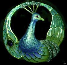 """Art Nouveau brooch """" Peacock """" Plique-à-Jour Enamel, cabochon, sapphire, ruby… Peacock Jewelry, Peacock Art, Bird Jewelry, Enamel Jewelry, Jewelry Art, Antique Jewelry, Vintage Jewelry, Jewelry Design, Jewellery"""