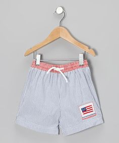 Take a look at this Blue Seersucker Flag Cotton Swim Trunks - Infant, Toddler & Boys by Velani Classics on #zulily today!
