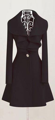 Ruffle collar woolen coat // black