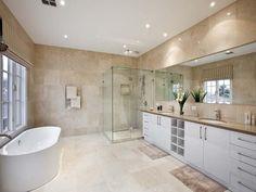 Modern bathroom design with freestanding bath using chrome - Bathroom Photo 245818 Cream Bathroom, Spa Like Bathroom, Beige Bathroom, Bathroom Interior, Small Bathroom, Bathroom Ideas, Bathroom Colours, Basement Bathroom, Bathroom Cabinets