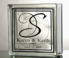 Glass Block For Wedding Gift Silhouette Glass Block Ideas - Vinyl decals for glass blocks uk