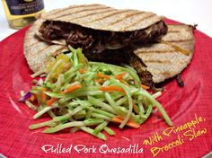 An easy crockpot bbq recipe for pork tenderloin.  Then shred and put on a tortilla with cheese for a tex mex feast.  A nod to vegetables with broccoli slaw.
