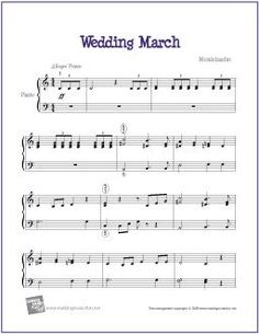 Wedding March (Mendelssohn) | Sheet Music for Easy Piano - http://makingmusicfun.net/htm/f_printit_free_printable_sheet_music/kabalevsky-waltz-piano.htm