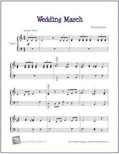 Wedding March (Mendelssohn) | Sheet Music for Easy Piano - http://makingmusicfun.net/htm/f_printit_free_printable_sheet_music/kabalevsky-waltz-piano.htm