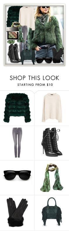"""green fur"" by jiji-585 ❤ liked on Polyvore featuring Alice + Olivia, MANGO, Paige Denim, Giuseppe Zanotti and Burberry"