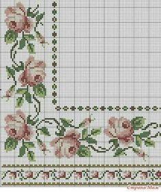 Really nice Cross-Stitch towel flowers patterns. 123 Cross Stitch, Cross Stitch Borders, Cross Stitch Flowers, Cross Stitch Charts, Cross Stitch Designs, Cross Stitching, Cross Stitch Embroidery, Hand Embroidery, Cross Stitch Patterns