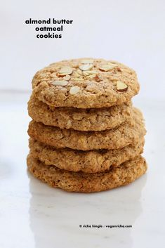 These Vegan Gluten-free Almond Butter Oatmeal breakfast cookies are oil-free, easy and come together quickly for a snack or breakfast. (chewy and crisp)--must make-- Soft Oatmeal Cookies, Oatmeal Breakfast Cookies, Buttery Cookies, Paleo Breakfast, Healthy Cookie Recipes, Healthy Cookies, Vegan Recipes, Free Recipes, Vegan Gluten Free Cookies