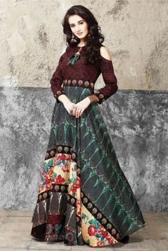 209b71dad5e8c Buy Designer Multi color Gown Online at Low prices in India on Winsant