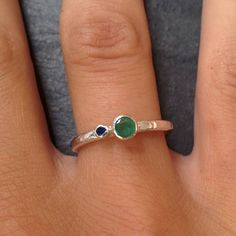 Experimenting with new lost & found ring designs. Our latest is emerald and sapphire set on a rough hammered silver band. All Lost & Found rings are made from reclaimed stones.
