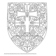 Slovenský znak Diy And Crafts, Arts And Crafts, Art Lessons For Kids, Free Coloring Pages, Color Patterns, Activities For Kids, Art Projects, Mandala, Geek Stuff