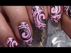 Glitter Flourish Stamping Nail Art Design (tutorial for long nails with nail polish) - YouTube