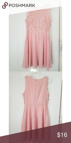 Pink Lacy Dress Size M light pink dress with lacy detailing. Excellent condition. Charlotte Russe Dresses