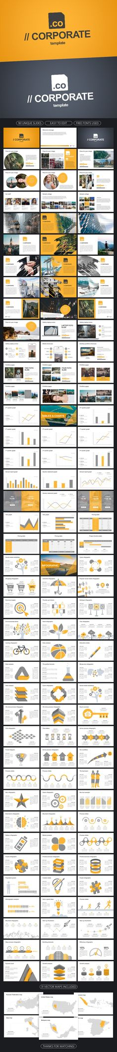 Corporate Powerpoint Template - 161 Professional Slides