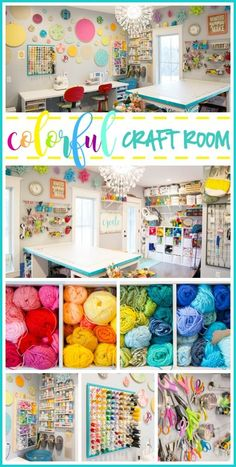 the ultimate colorful Craft Room Tour - tips for craft storage, organization, and more! --Sugar Bee Crafts