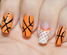 Orange basketball and net nail art design 31dc2013