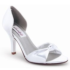 260ae746570 Dyeables - White Satin Open-Toe Heels with Knot Detail Wedding Shoes