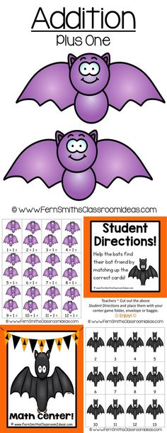 Quick and Easy to Make Addition Center Game - Addition Plus One Concept for Halloween ~ This math resource includes ~ Center cover, math center sign, two pages of playing cards, student directions and a page with the common core for your lesson plans. #TPT $paid