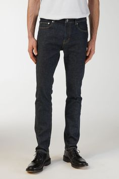 130001-366 - Slim Rinsed Indigo Jeans. Slim-fit jeans with a classic 5-pocket design. Cut in cotton twill with a comfort-inducing hint of stretch, they re finished with a rinsed indigo wash for  a naturally faded look. #ARKET