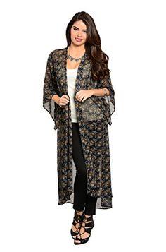 2LUV Women's 3/4 Sleeve Floral Print Maxi Kimono Cardigan Navy & Teal S (ZJK1425) 2LUV http://www.amazon.com/dp/B00RKND0SE/ref=cm_sw_r_pi_dp_5ZZevb1V6GJDR