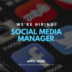 Design created with PosterMyWall We Are Hiring, Jobs Hiring, Instagram Post Template, Social Media Pages, Rap Music, Tool Design, Management, How To Apply, Templates