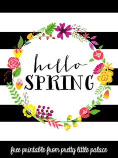 Free Hello Spring Printable from Pretty Little Palace Origami, Cute Dorm Rooms, Norman Foster, Subway Art, Spring Has Sprung, Hello Spring, Happy Spring, Chalkboard Art, Planner