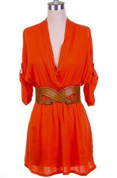 Sierra   Belted Roll Sleeve Tunic Dress