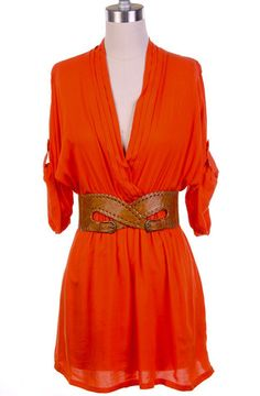 Sierra | Belted Roll Sleeve Tunic Dress
