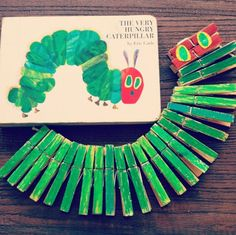 A Clothespin Caterpillar that celebrates Eric Carle's, The Very Hungry Caterpillar.